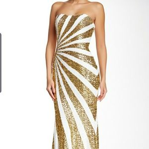 La Femme 17456 Gold and White Sequin Gown